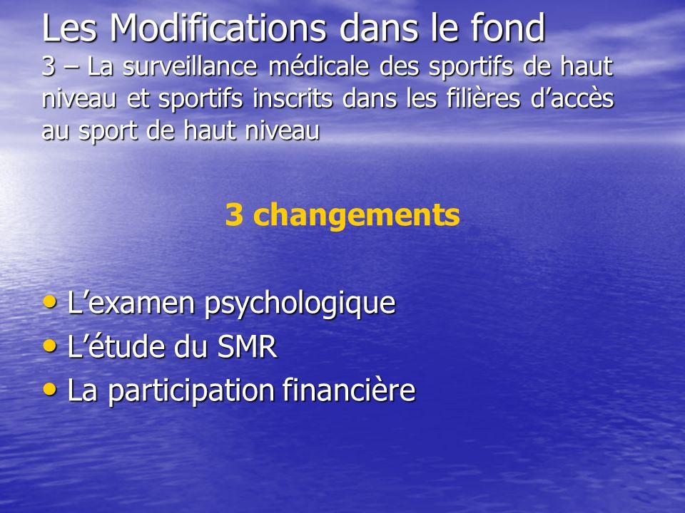 Les Modifications dans le fond 3 – La surveillance médicale des sportifs de haut niveau et sportifs inscrits dans les filières d'accès au sport de haut niveau