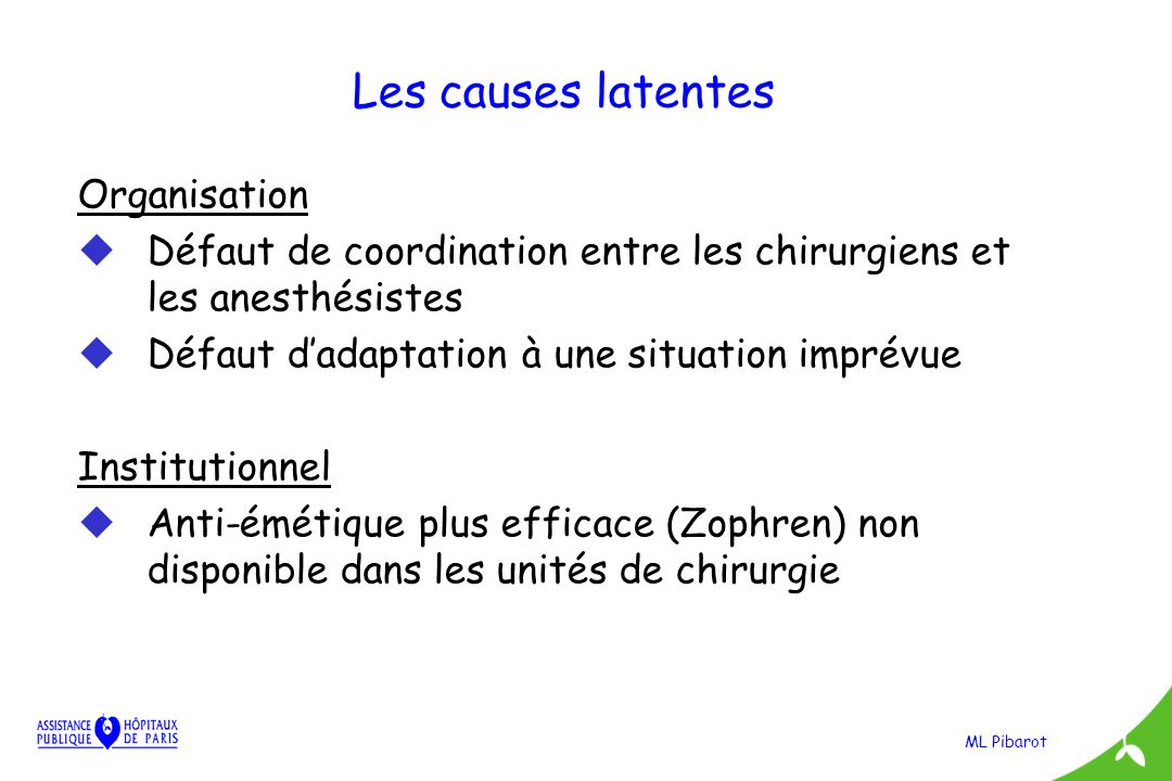 Les causes latentes Organisation