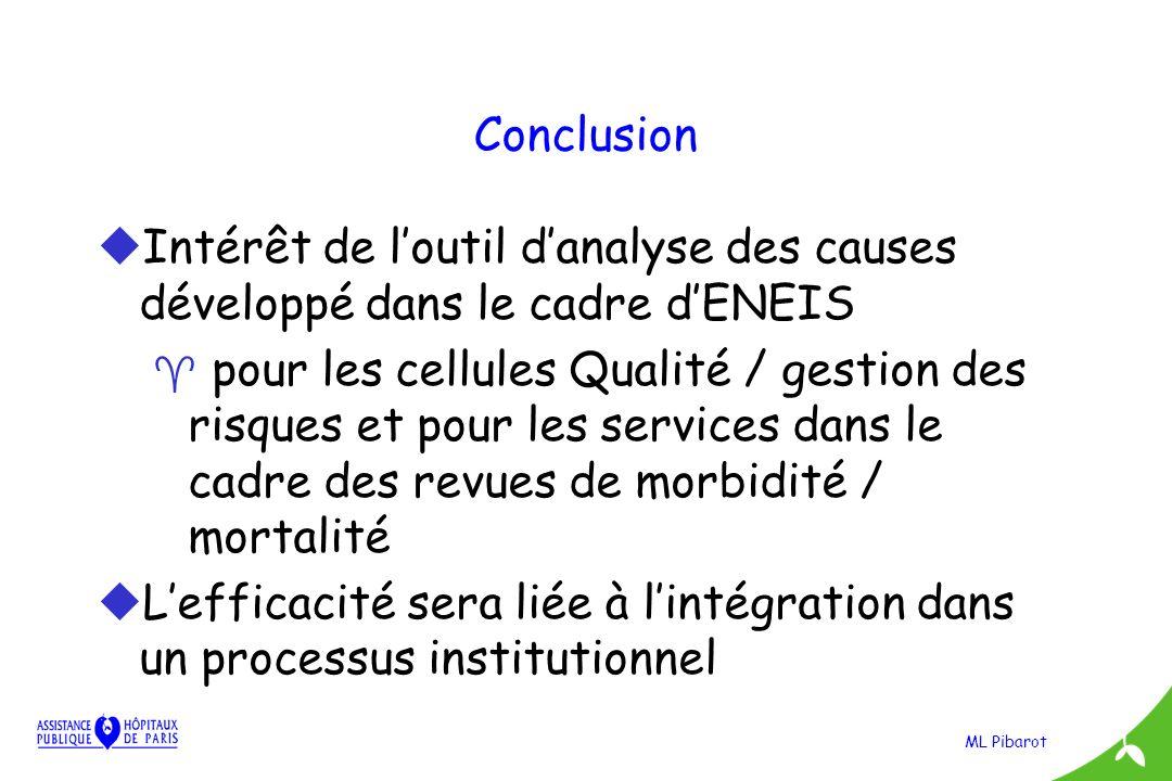 Conclusion Intérêt de l'outil d'analyse des causes développé dans le cadre d'ENEIS.