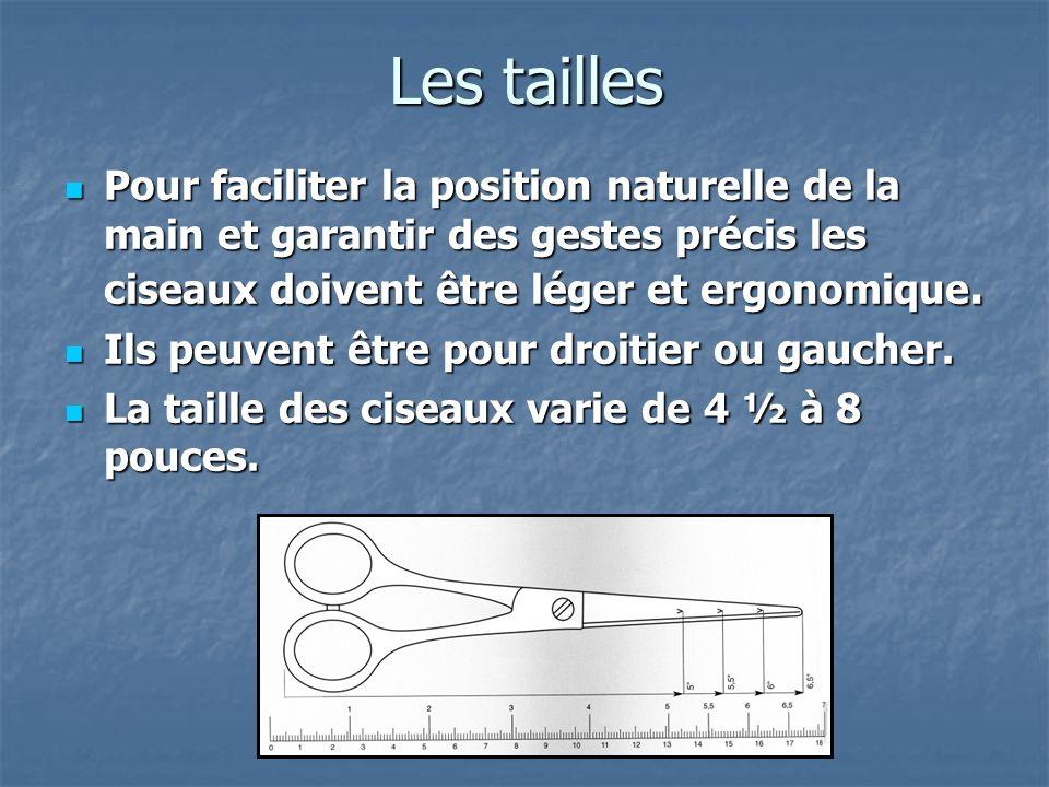 Les tailles Pour faciliter la position naturelle de la main et garantir des gestes précis les ciseaux doivent être léger et ergonomique.