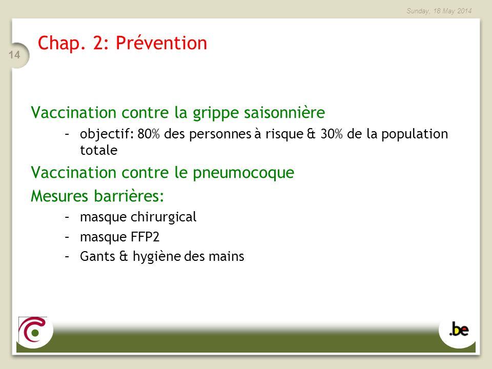 Chap. 2: Prévention Vaccination contre la grippe saisonnière