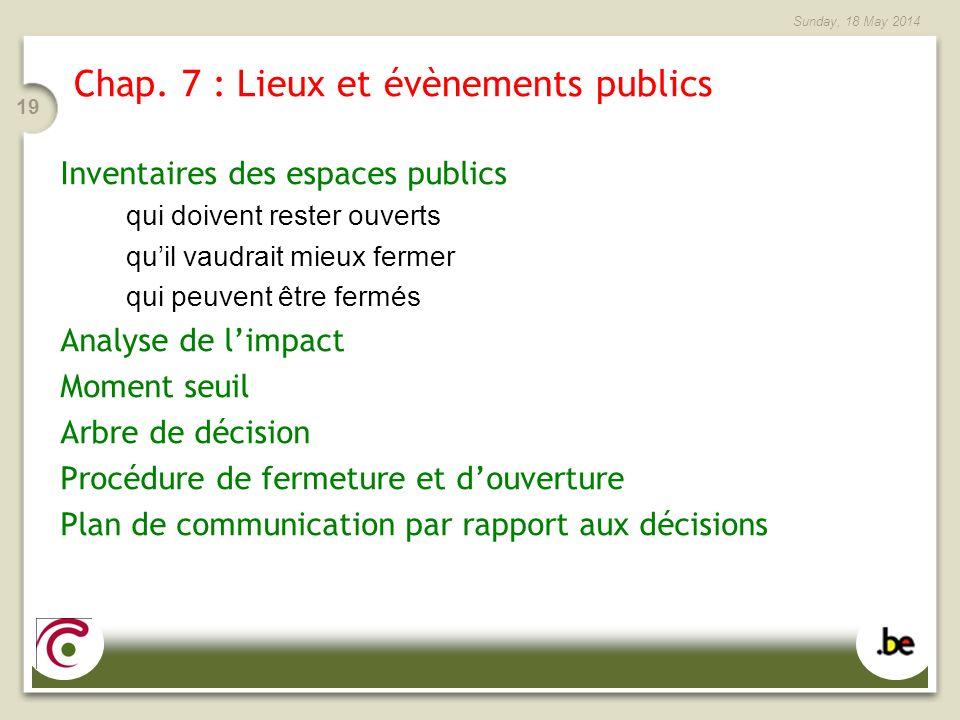 Chap. 7 : Lieux et évènements publics