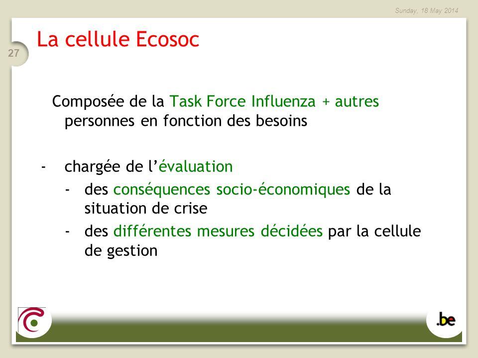 La cellule Ecosoc Composée de la Task Force Influenza + autres personnes en fonction des besoins.
