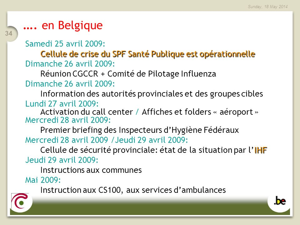 …. en Belgique Samedi 25 avril 2009: