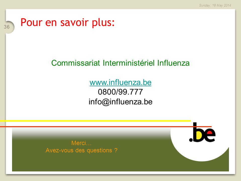 Pour en savoir plus: Commissariat Interministériel Influenza