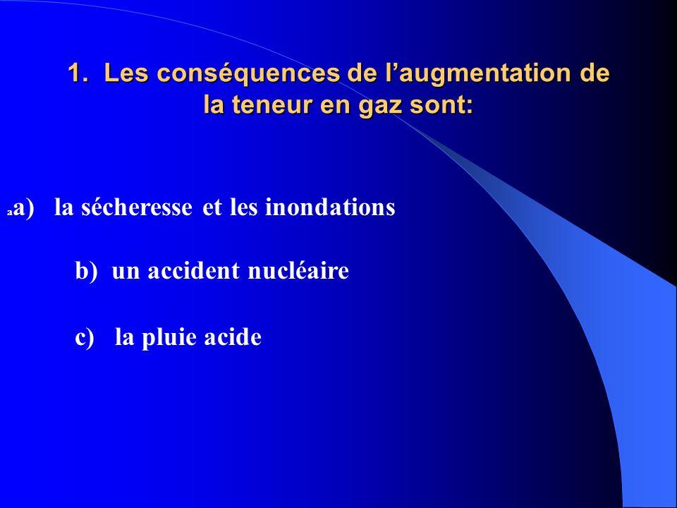 1. Les conséquences de l'augmentation de la teneur en gaz sont:
