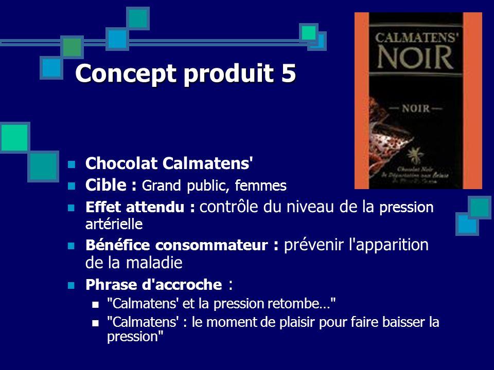 Concept produit 5 Chocolat Calmatens Cible : Grand public, femmes