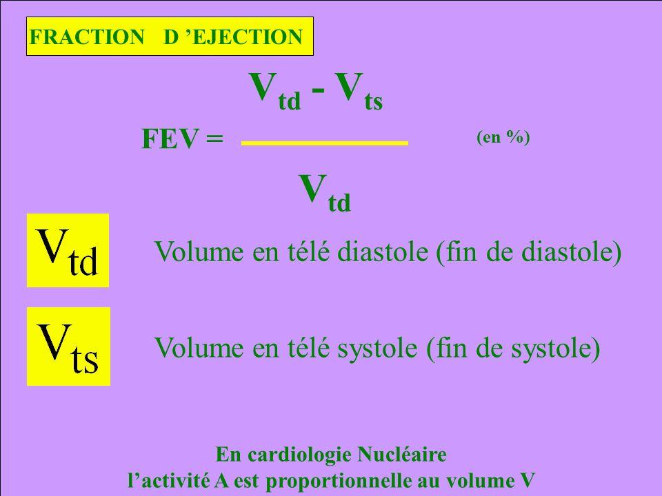 En cardiologie Nucléaire l'activité A est proportionnelle au volume V