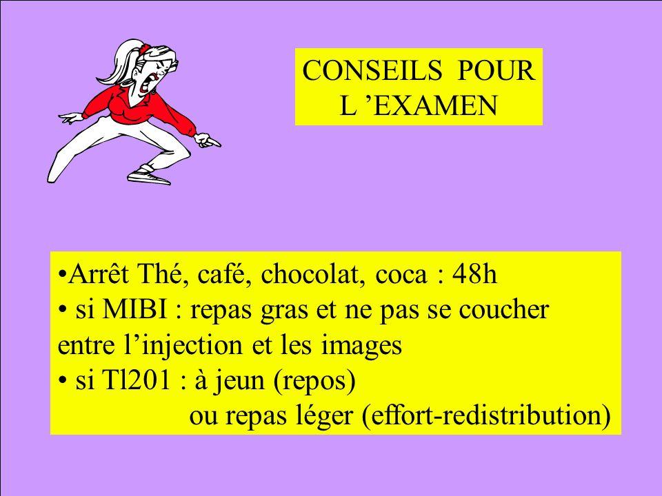CONSEILS POUR L 'EXAMEN. Arrêt Thé, café, chocolat, coca : 48h. si MIBI : repas gras et ne pas se coucher.