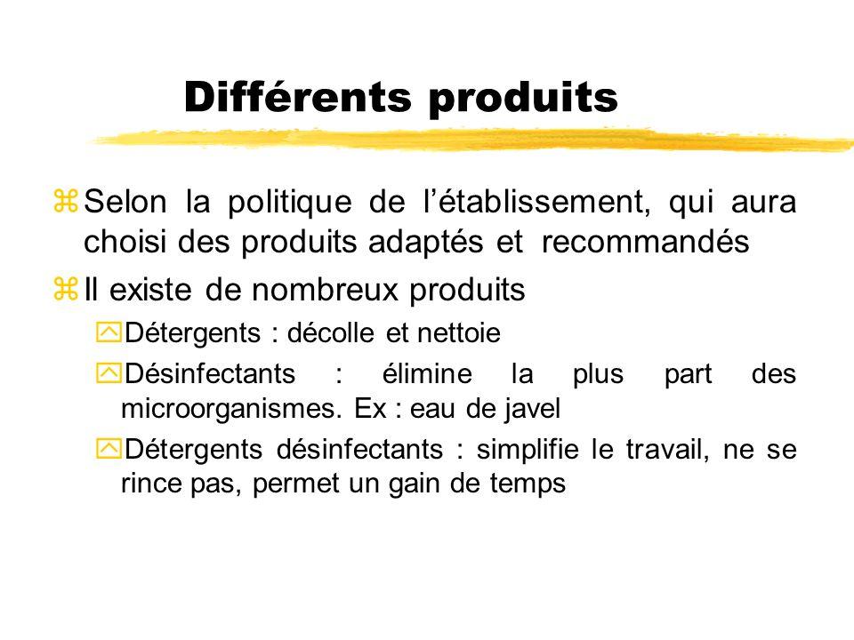 Différents produits Selon la politique de l'établissement, qui aura choisi des produits adaptés et recommandés.