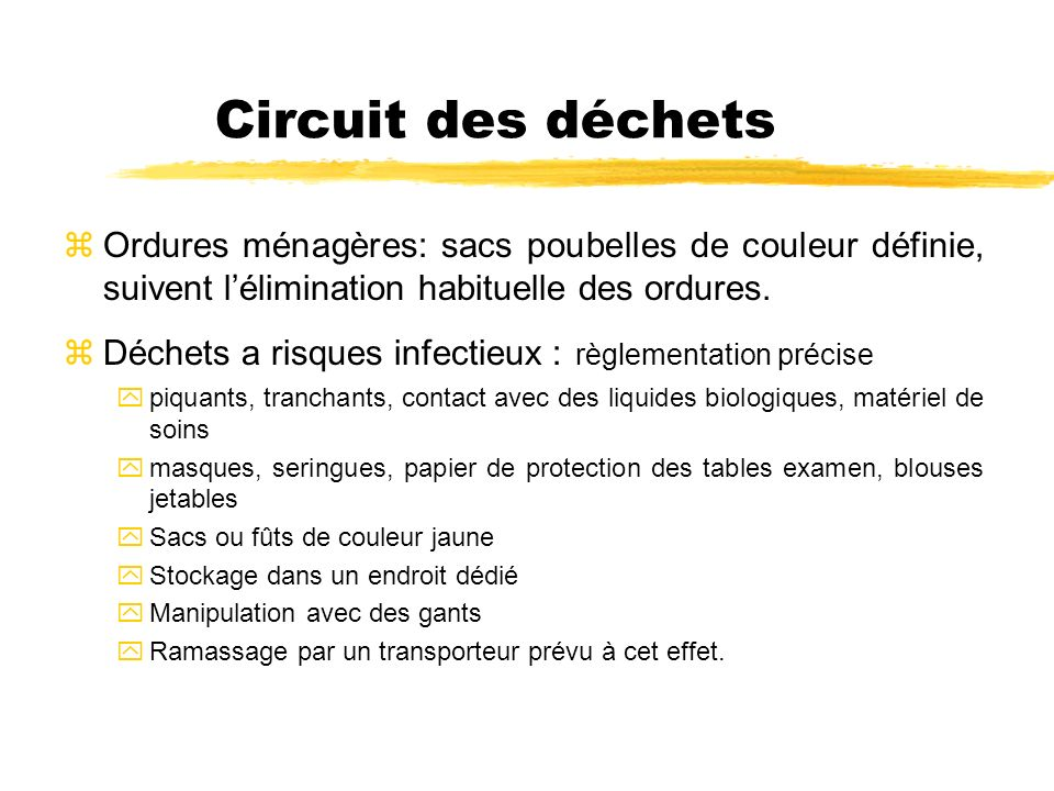 Circuit des déchets Ordures ménagères: sacs poubelles de couleur définie, suivent l'élimination habituelle des ordures.