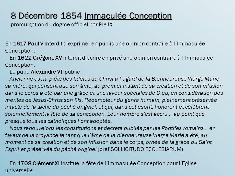 8 Décembre 1854 Immaculée Conception
