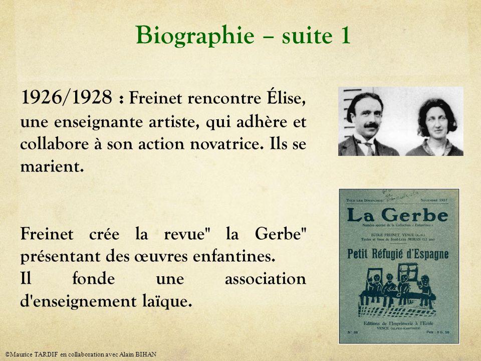 Biographie – suite 1 1926/1928 : Freinet rencontre Élise, une enseignante artiste, qui adhère et collabore à son action novatrice. Ils se marient.