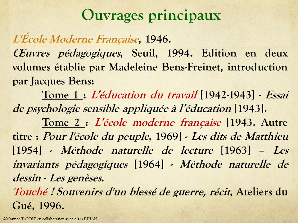 Ouvrages principaux L École Moderne Française, 1946.