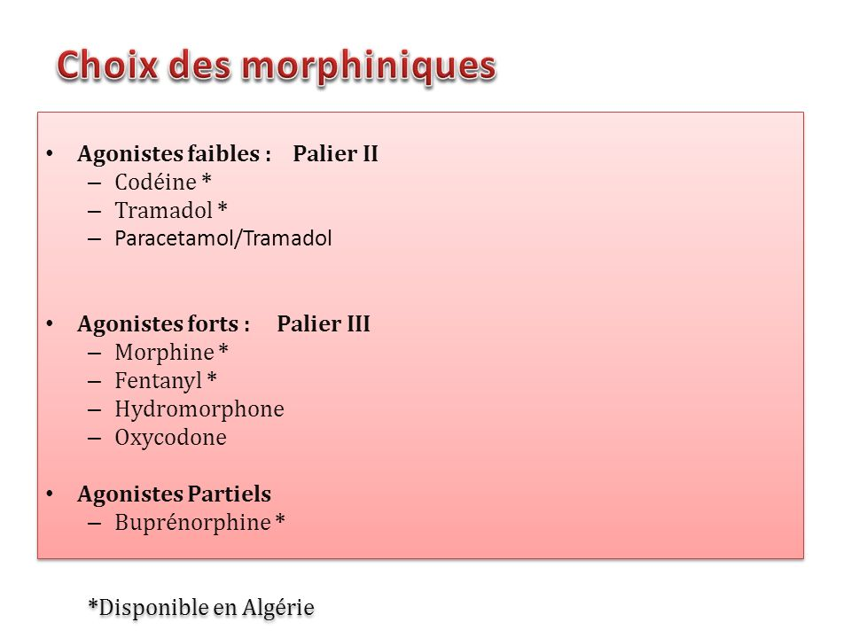 Choix des morphiniques