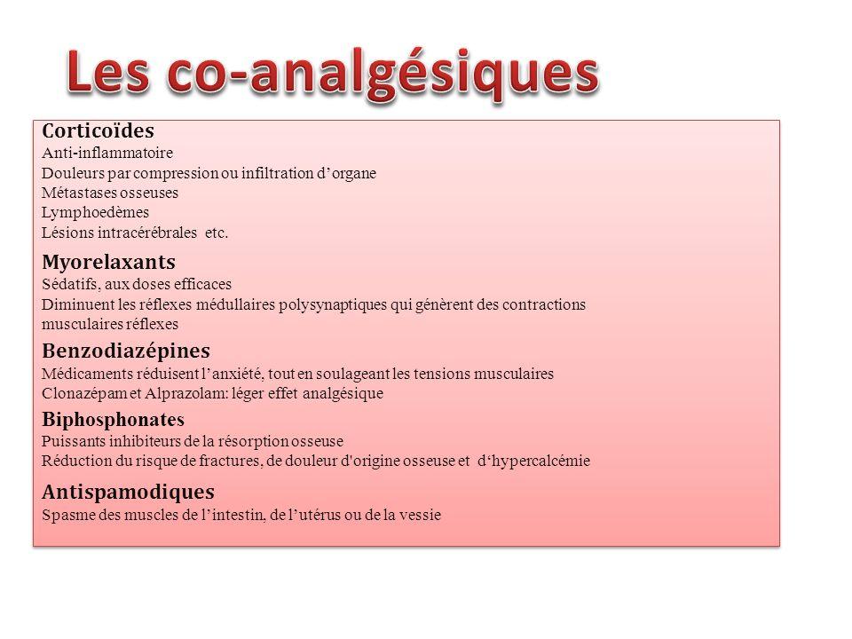 Les co-analgésiques Corticoïdes Myorelaxants Benzodiazépines