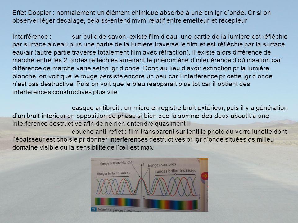 Effet Doppler : normalement un élément chimique absorbe à une ctn lgr d'onde. Or si on observer léger décalage, cela ss-entend mvm relatif entre émetteur et récepteur