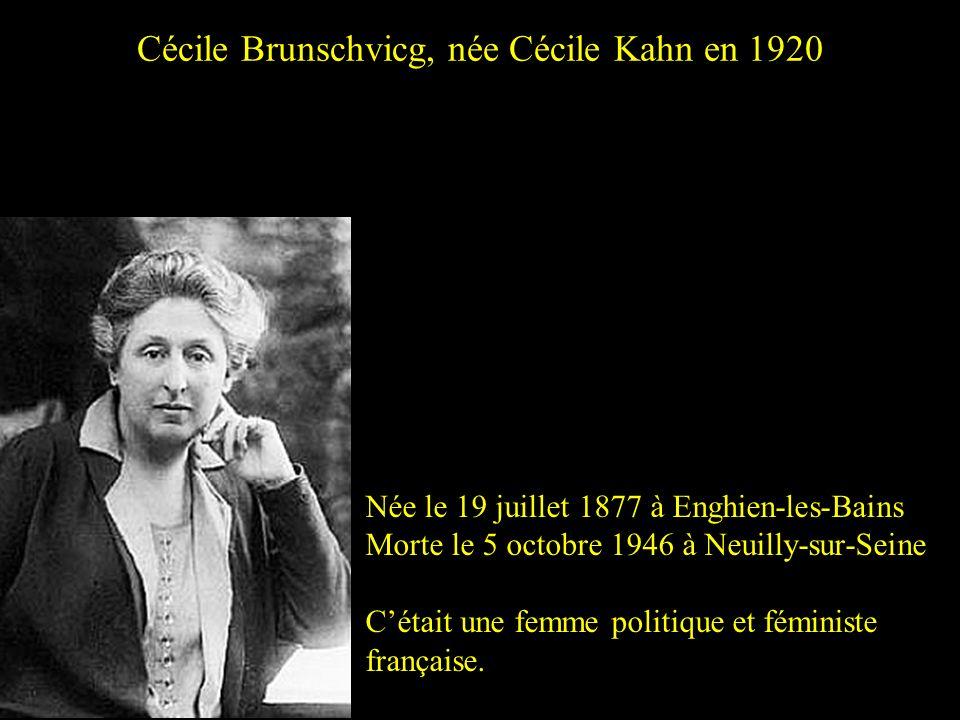 Cécile Brunschvicg, née Cécile Kahn en 1920