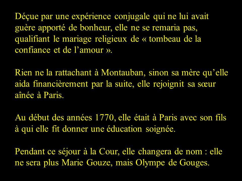Déçue par une expérience conjugale qui ne lui avait guère apporté de bonheur, elle ne se remaria pas, qualifiant le mariage religieux de « tombeau de la confiance et de l'amour ».