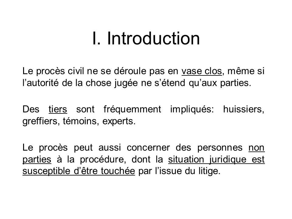 I. Introduction Le procès civil ne se déroule pas en vase clos, même si l'autorité de la chose jugée ne s'étend qu'aux parties.