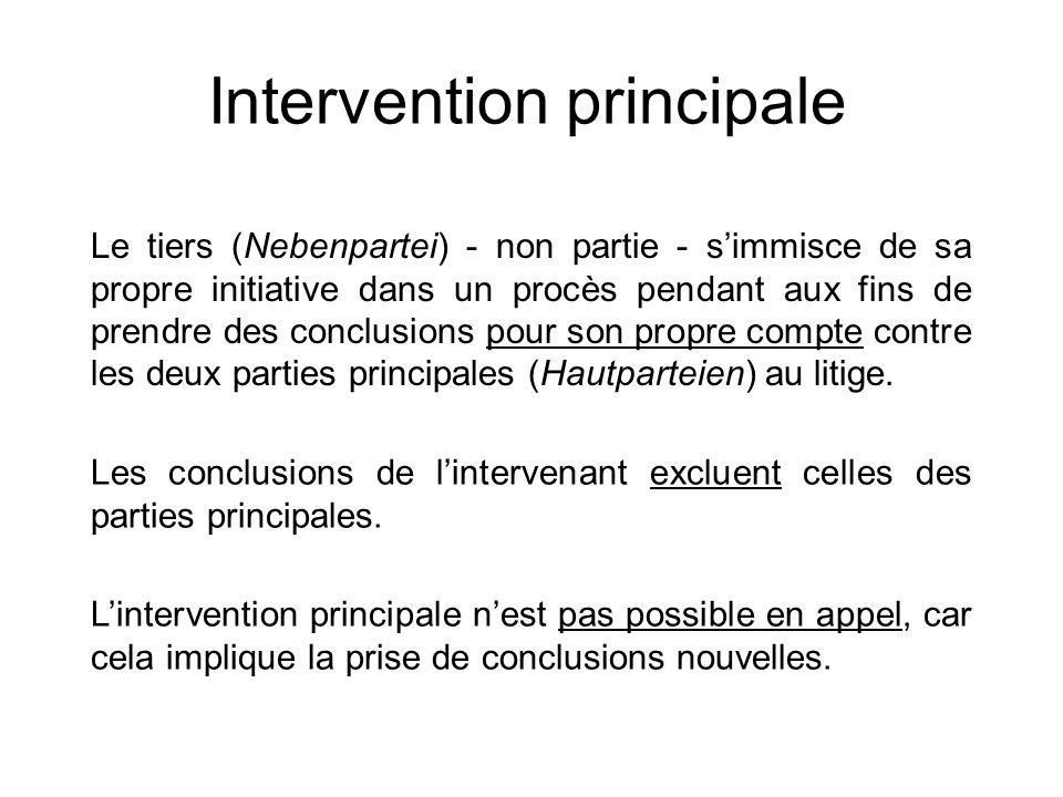 Intervention principale