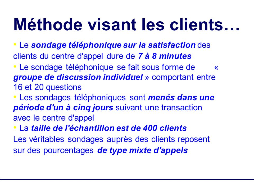 Méthode visant les clients…