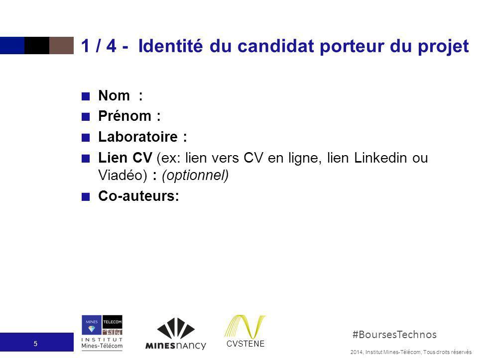 1 / 4 - Identité du candidat porteur du projet