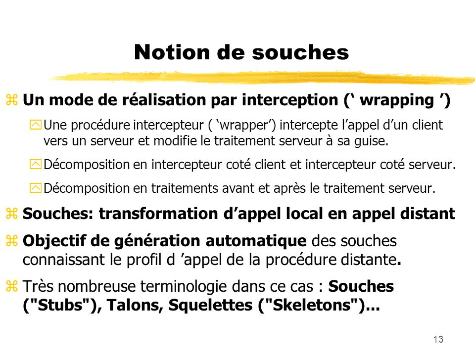 Notion de souches Un mode de réalisation par interception (' wrapping ')