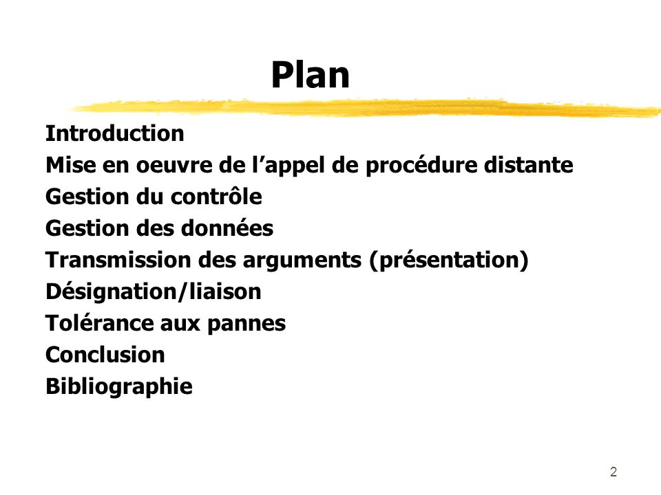 Plan Introduction Mise en oeuvre de l'appel de procédure distante
