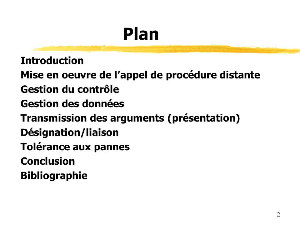 Plan Introduction Mise en oeuvre de l'appel de procédure distante