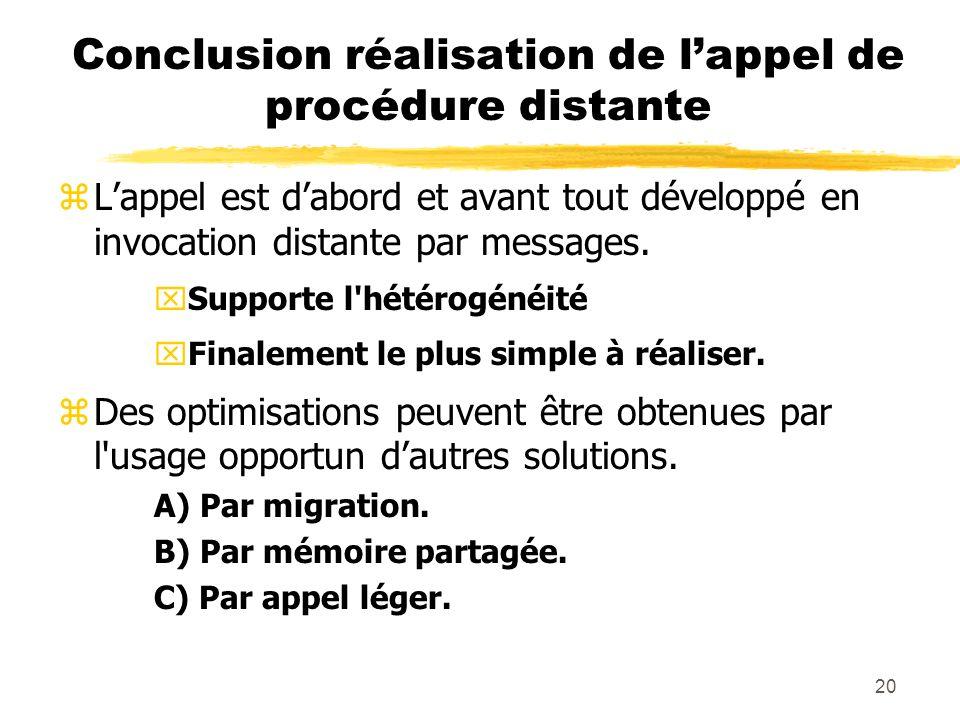 Conclusion réalisation de l'appel de procédure distante