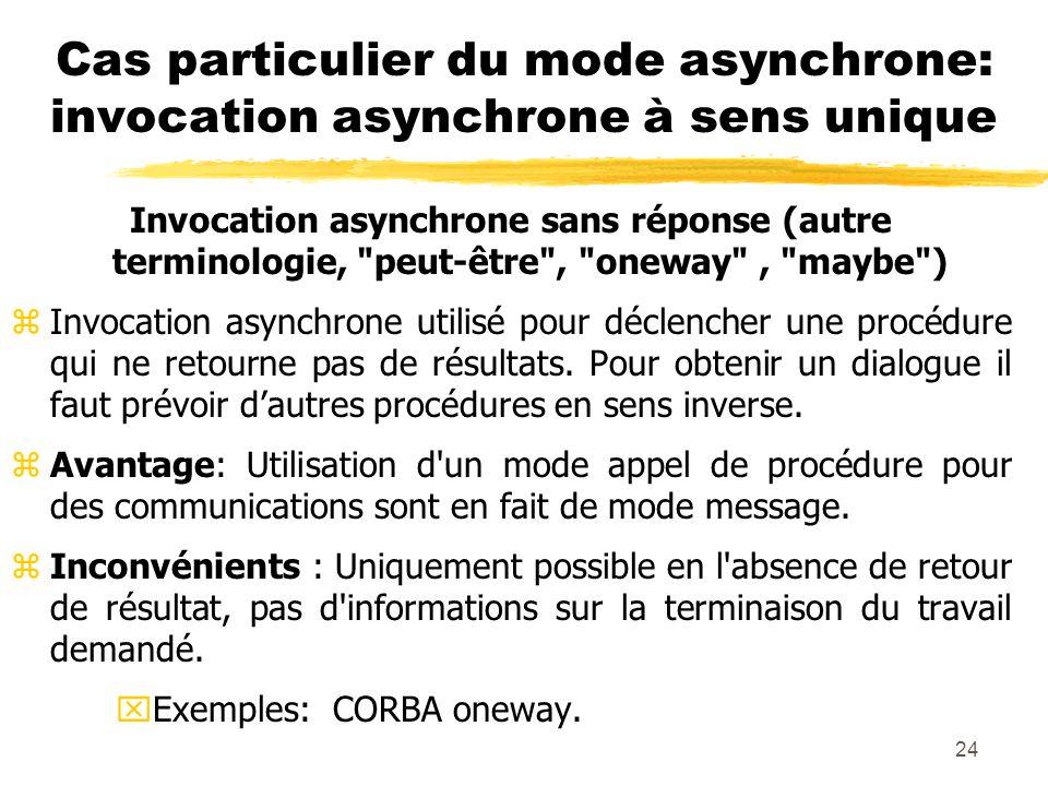 Cas particulier du mode asynchrone: invocation asynchrone à sens unique