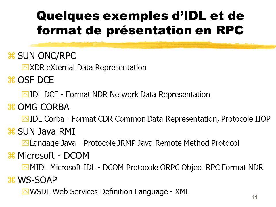 Quelques exemples d'IDL et de format de présentation en RPC