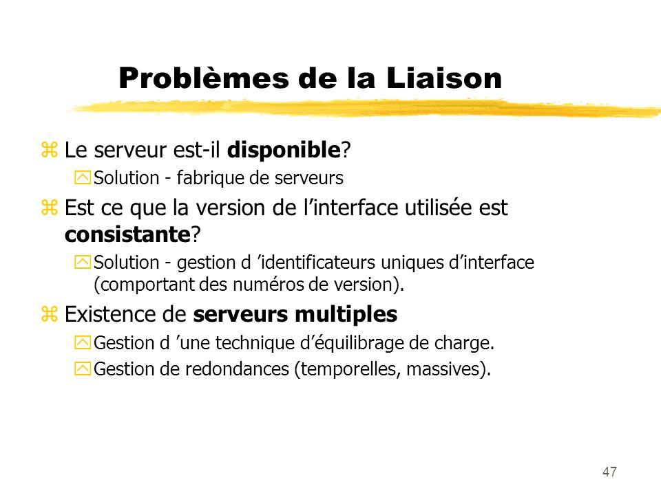 Problèmes de la Liaison
