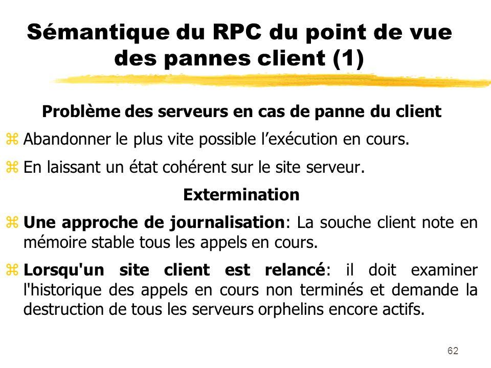Sémantique du RPC du point de vue des pannes client (1)