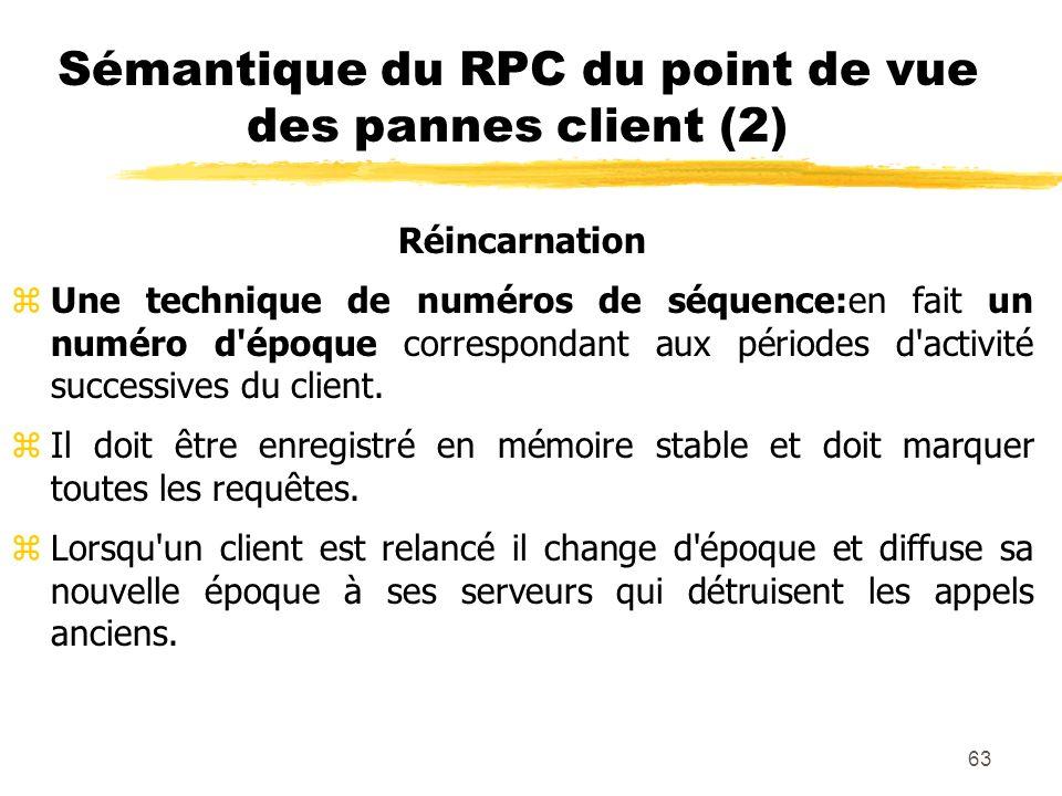 Sémantique du RPC du point de vue des pannes client (2)