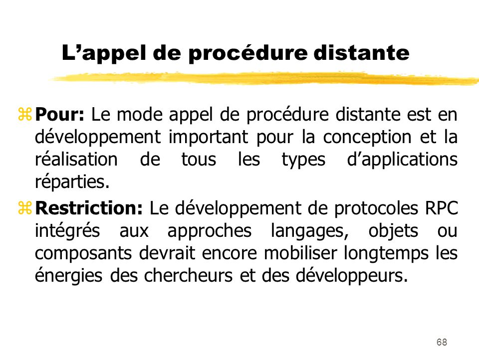 L'appel de procédure distante