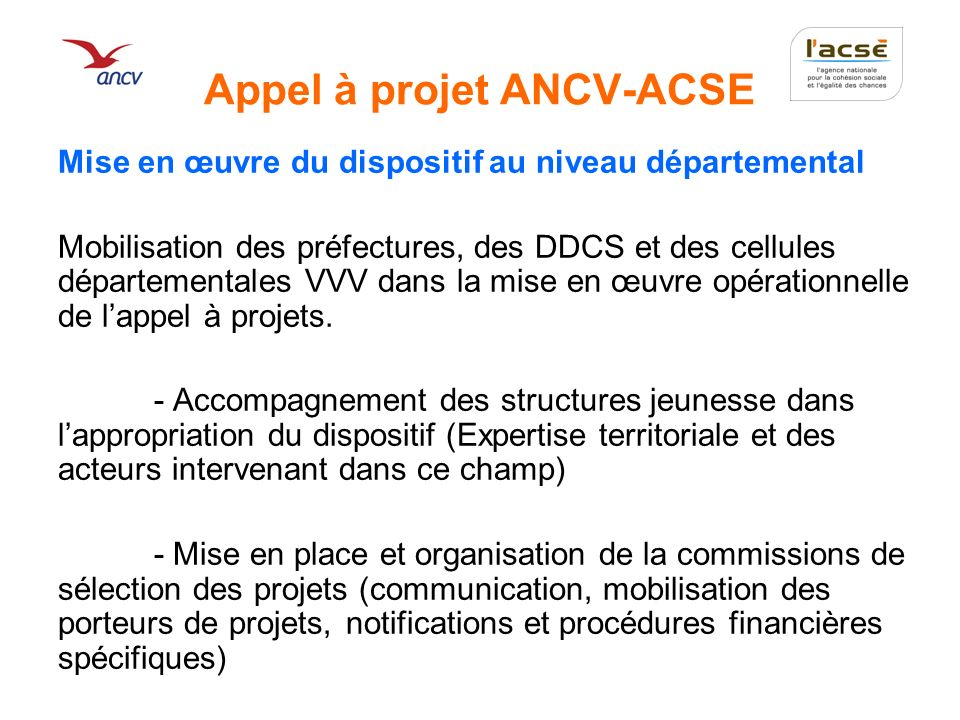 Appel à projet ANCV-ACSE