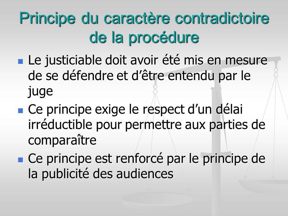 Principe du caractère contradictoire de la procédure