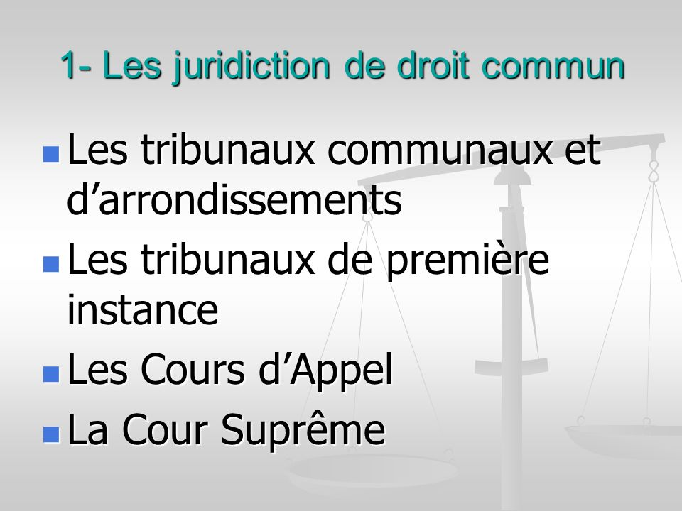 1- Les juridiction de droit commun