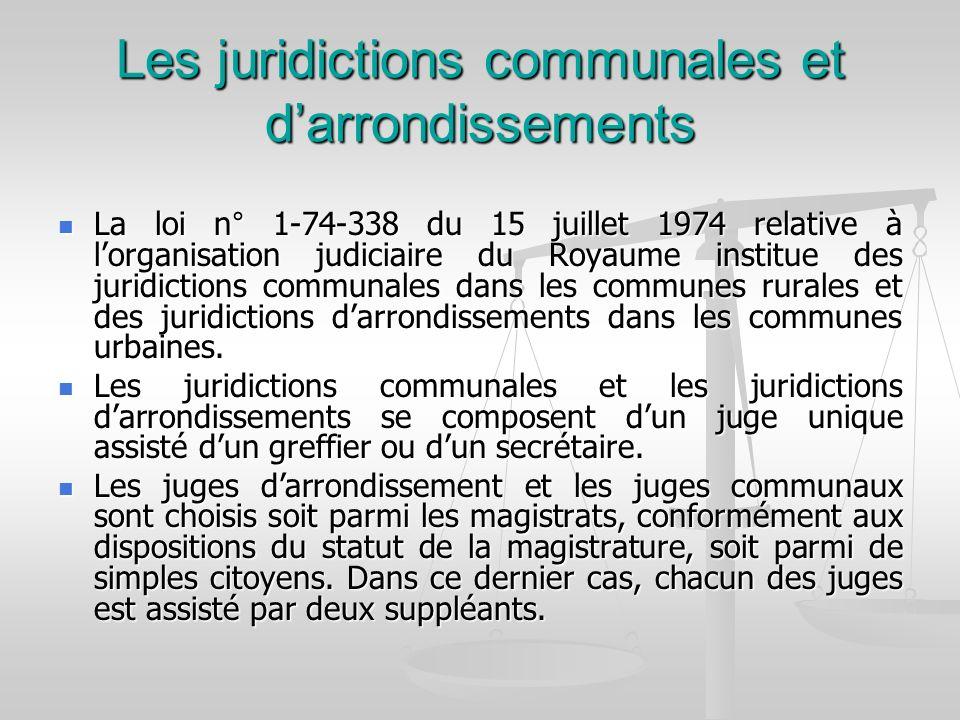 Les juridictions communales et d'arrondissements