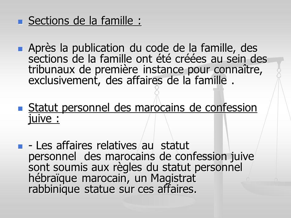 Sections de la famille :
