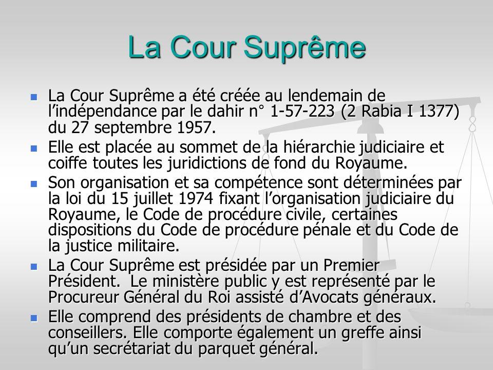 La Cour Suprême La Cour Suprême a été créée au lendemain de l'indépendance par le dahir n° 1-57-223 (2 Rabia I 1377) du 27 septembre 1957.