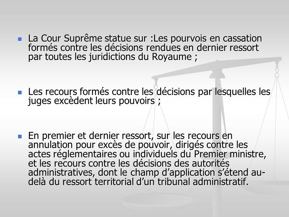 La Cour Suprême statue sur :Les pourvois en cassation formés contre les décisions rendues en dernier ressort par toutes les juridictions du Royaume ;