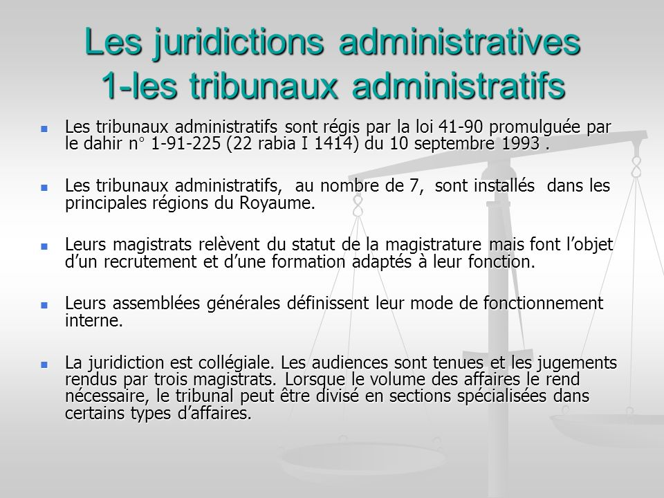 Les juridictions administratives 1-les tribunaux administratifs