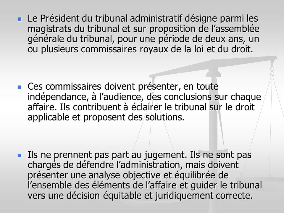 Le Président du tribunal administratif désigne parmi les magistrats du tribunal et sur proposition de l'assemblée générale du tribunal, pour une période de deux ans, un ou plusieurs commissaires royaux de la loi et du droit.