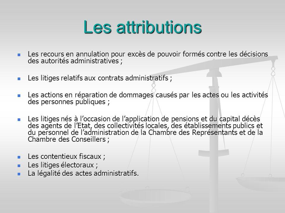 Les attributions Les recours en annulation pour excès de pouvoir formés contre les décisions des autorités administratives ;