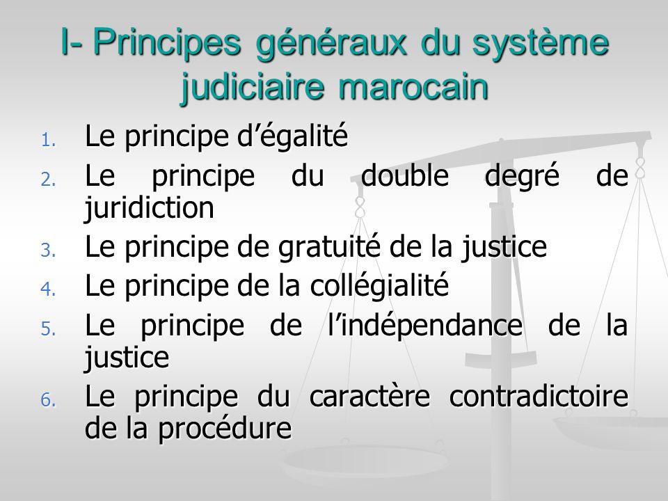I- Principes généraux du système judiciaire marocain