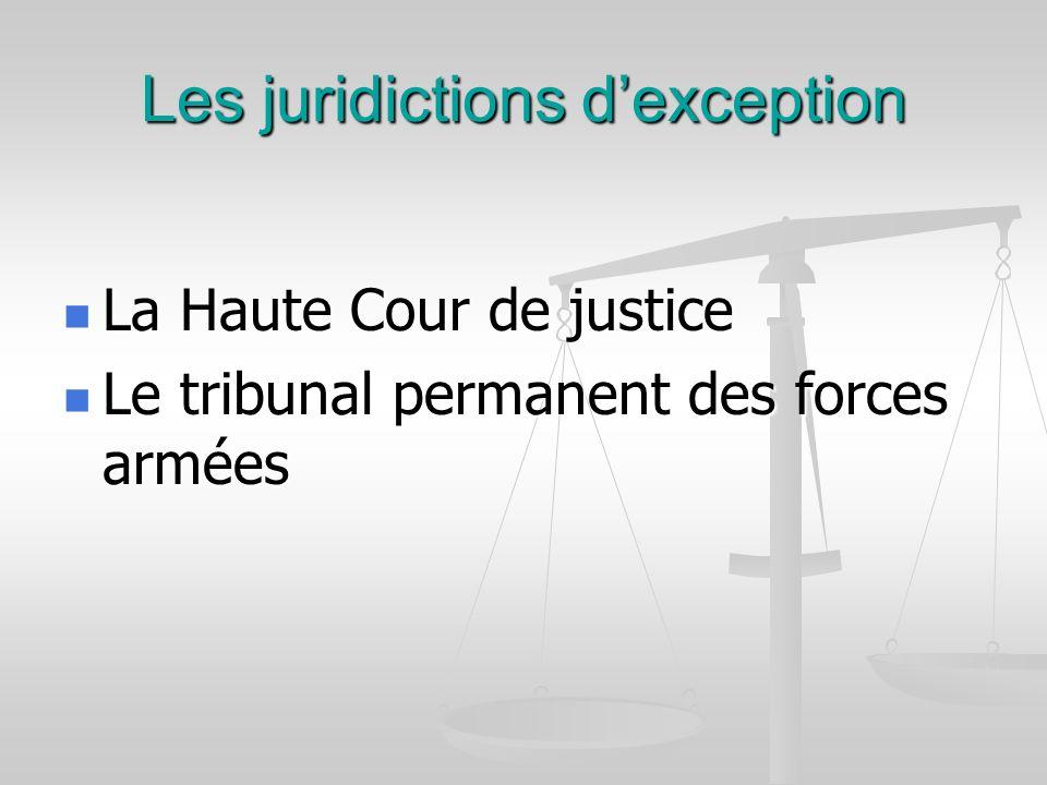 Les juridictions d'exception