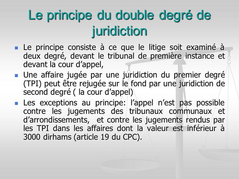 Le principe du double degré de juridiction